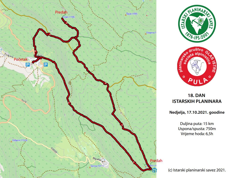 18. Dan istarskih planinara – nedjelja 17. listopad 2021.